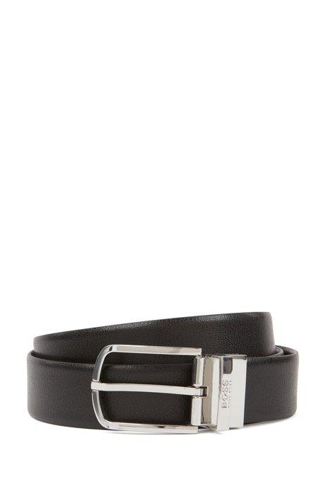 Wendegürtel aus Leder mit runder Schließe in Geschenkbox, Schwarz