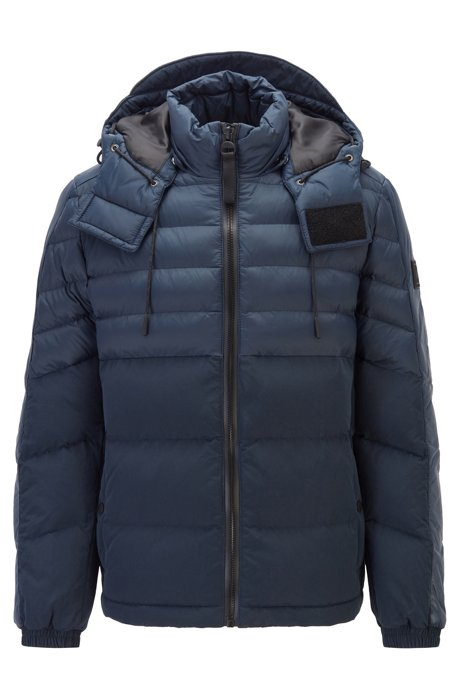 Lightweight jacket in water-repellent fabric with removable hood, Dark Blue