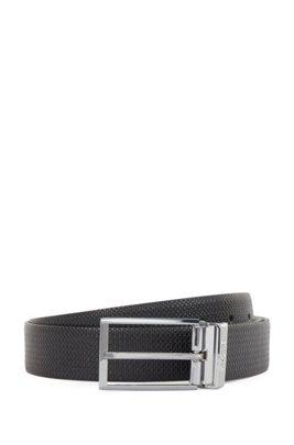 Wendegürtel aus Leder mit Dorn- und Koppelschließe, Schwarz