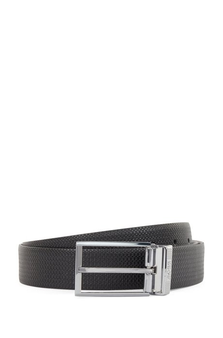 Reversible leather belt with pin and plaque buckles, Black