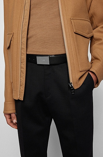 男士针扣加牌扣双面皮革腰带,  002_黑色
