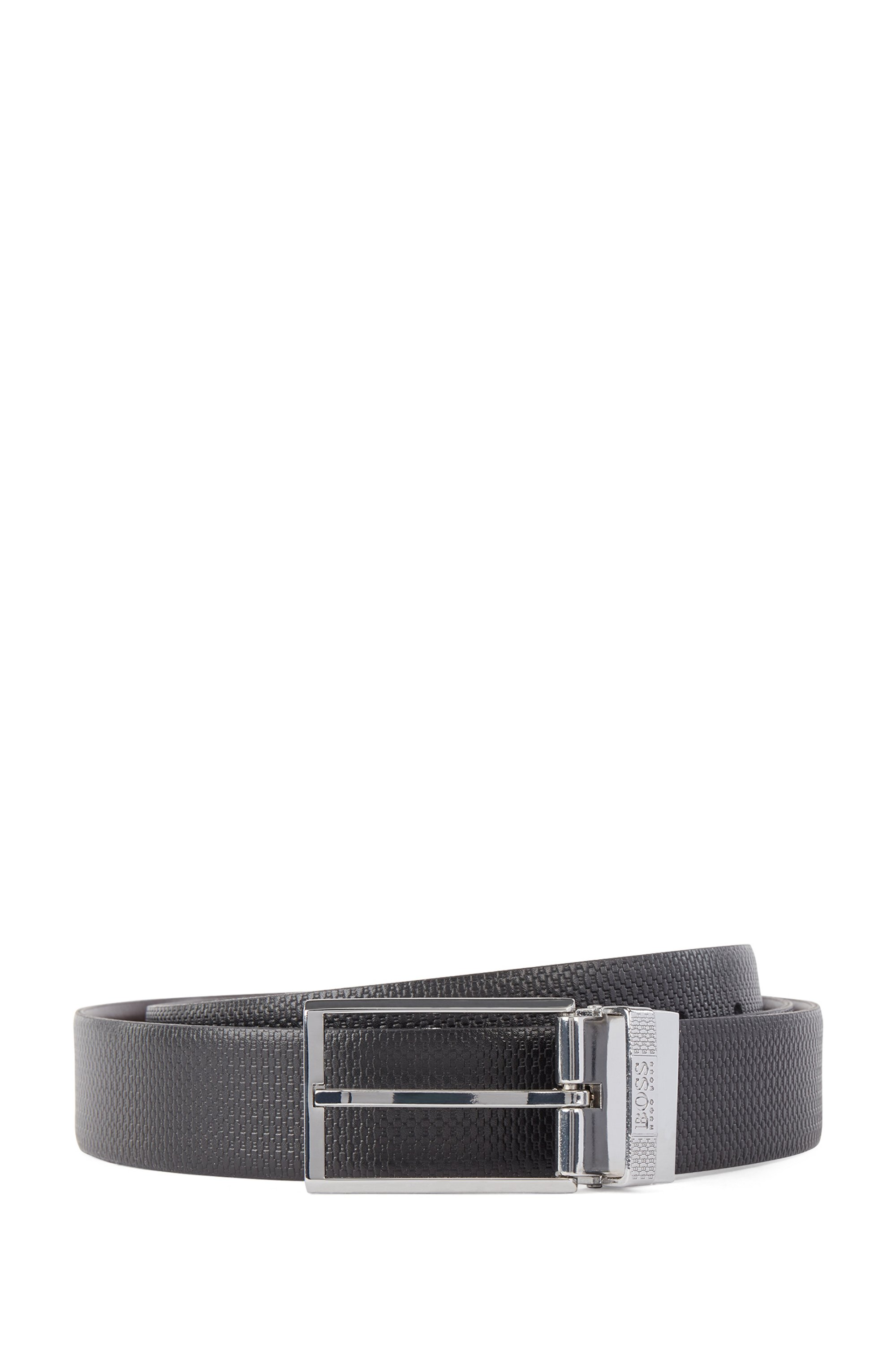 Reversible leather belt with pin and plaque buckles, Dark Brown