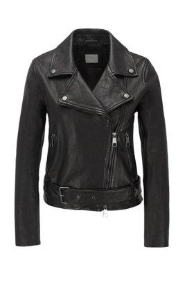 Asymmetrische Bikerjacke aus Nappaleder mit Taillengürtel, Schwarz