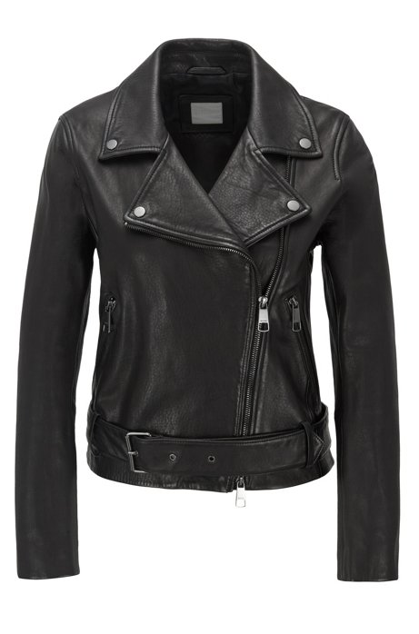 Asymmetric biker jacket in nappa leather with belted waist, Black