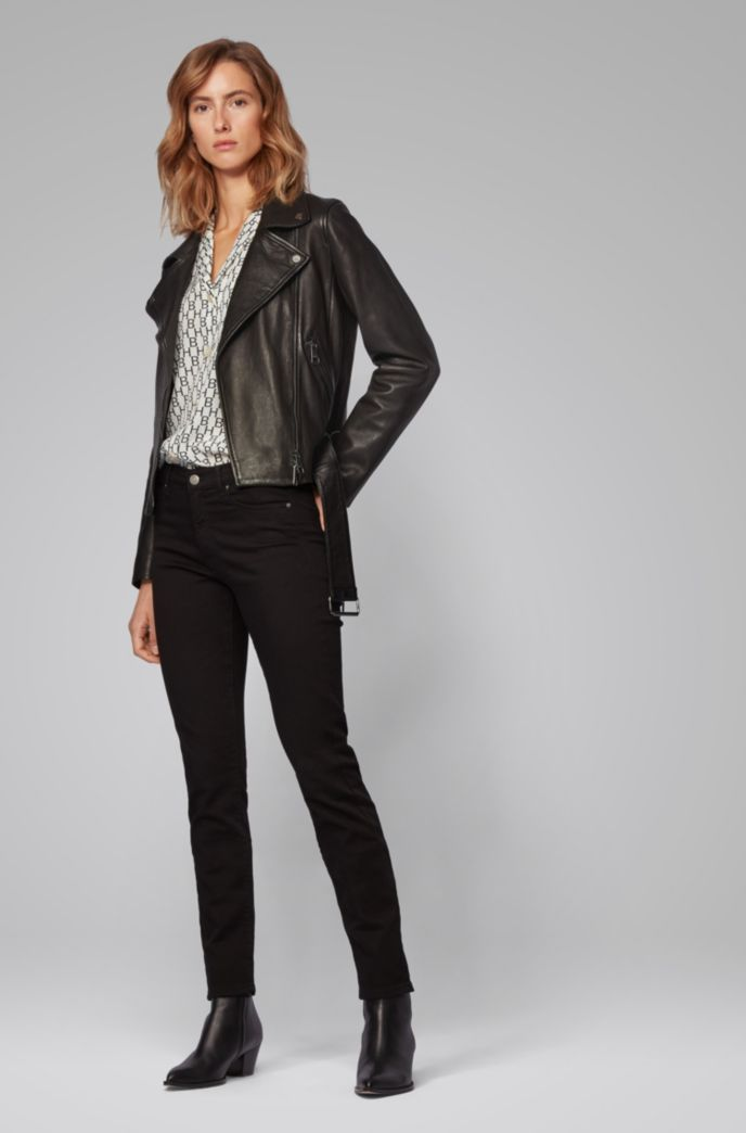 Asymmetric biker jacket in nappa leather with belted waist