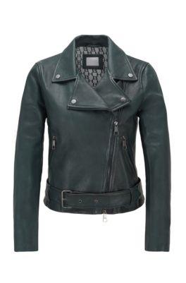 Asymmetrische Bikerjacke aus Nappaleder mit Taillengürtel, Dunkelgrün