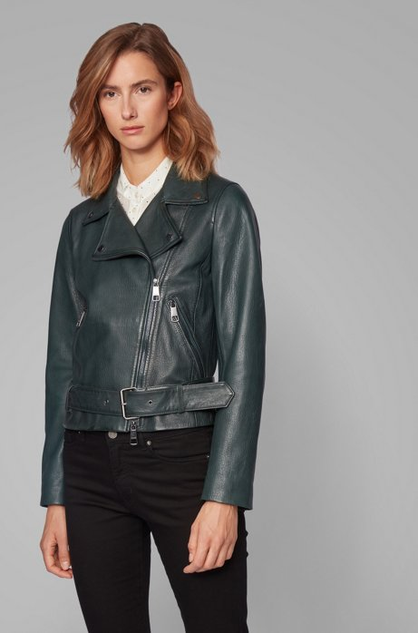 Asymmetric biker jacket in nappa leather with belted waist, Dark Green