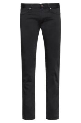Slim-Fit Jeans aus bequemem Stretch-Denim mit Satin-Effekt, Schwarz