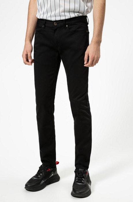 Slim-fit jeans van satijnzacht comfort-stretchdenim, Zwart