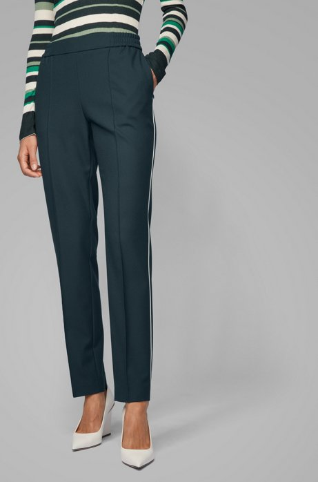 Pantaloni relaxed fit stile jogging, Verde scuro
