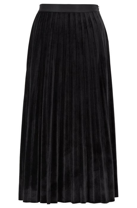 A-line plissé skirt in stretch velvet, Black