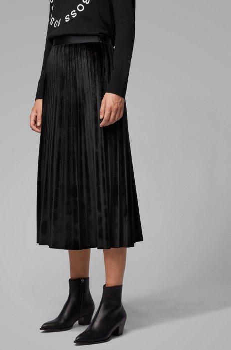 A-line plissé skirt in stretch velvet, Black