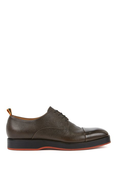 Derby shoes in Scotch-grain calf leather, Dark Brown