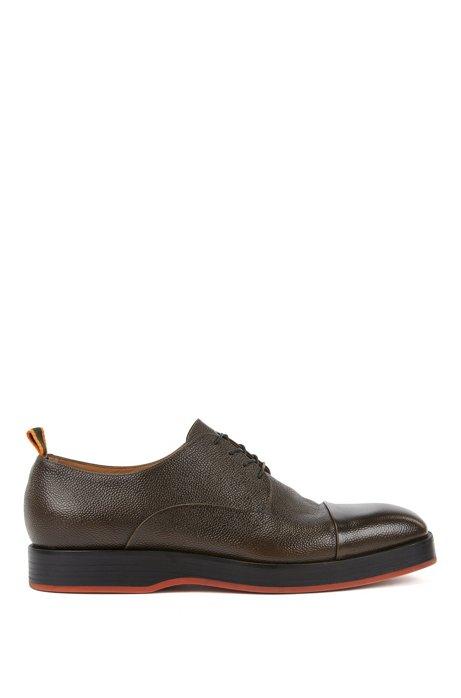 Chaussures derby en cuir de veau à grain écossais, Marron foncé
