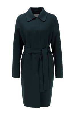 Relaxed-fit coat in hand-stitched fabrics, Dark Green