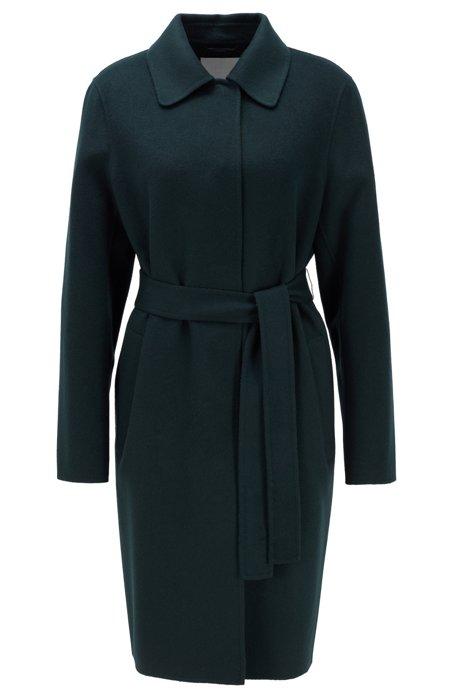 Handgenähter Relaxed-Fit Mantel aus einem Woll-Mix, Dunkelgrün