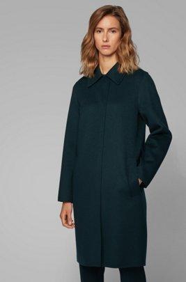 Relaxed-fit mantel van handgestikte materialen, Donkergroen