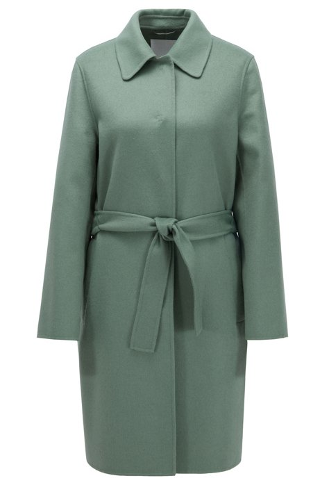 Relaxed-fit coat in hand-stitched fabrics, Light Green