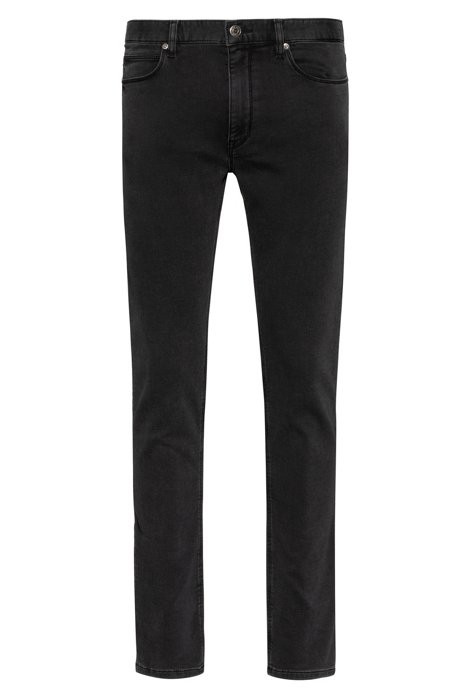 Extra-slim-fit jeans in knitted black stretch denim, Anthracite