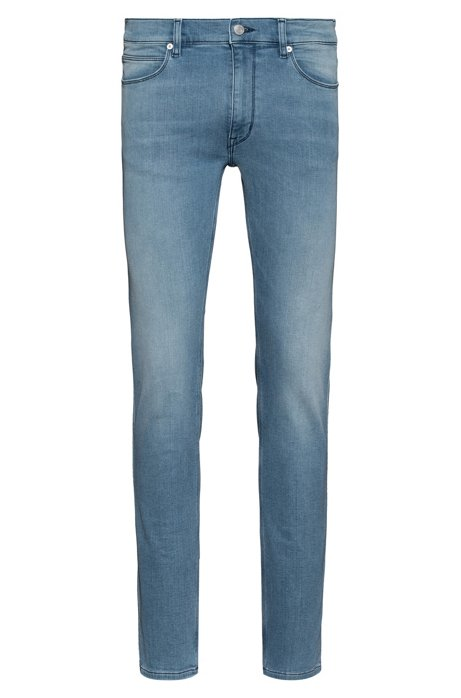 Slim-fit jeans van felblauw denim in jersey, Blauw