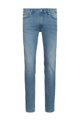 Extra slim-fit jeans van felblauw denim in jersey, Blauw