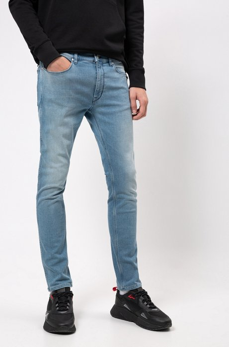 Extra slim-fit jeans van felblauw denim in jersey, Blauw