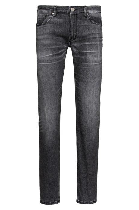 Jean Slim Fit en denim stretch confortable de couleur noire, Anthracite