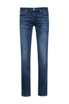 Slim-fit jeans van blauw comfort-stretchdenim, Donkerblauw