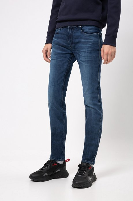 Jean Slim Fit en denim stretch confortable bleu, Bleu foncé