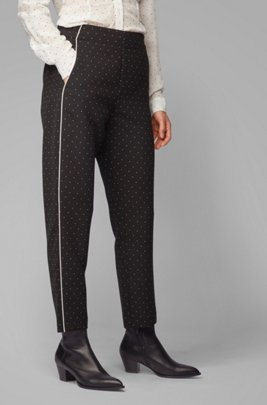 Regular-fit jogging trousers with satin piping, Patterned