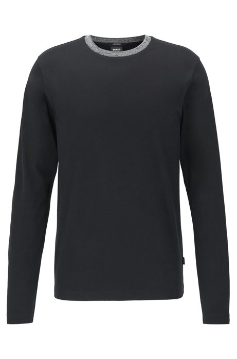 Slim-fit T-shirt in cotton with melange collar, Black