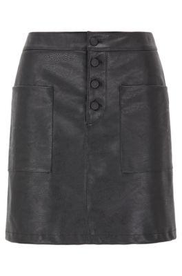 Jupe évasée en similicuir à poches plaquées, Noir