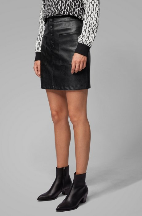 A-line skirt in faux leather with patch pockets, Black