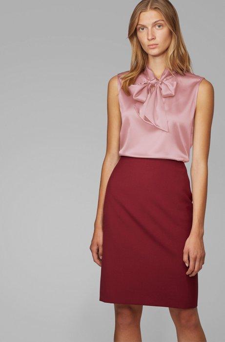 Blusa senza maniche in seta elasticizzata con colletto con fiocco, Rosa chiaro