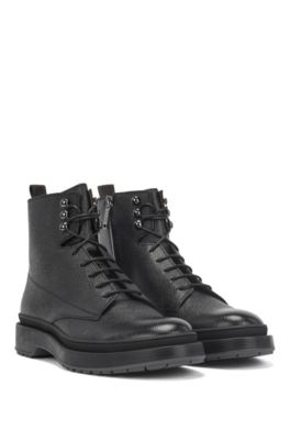 16f3f2b1624 BOSS - Lace-up boots in Scotch-grain leather with contrast lug sole