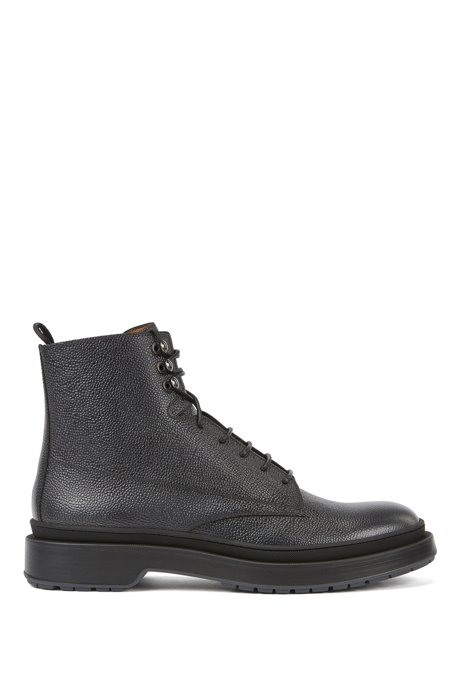 Lace-up boots in Scotch-grain leather with contrast lug sole, Black