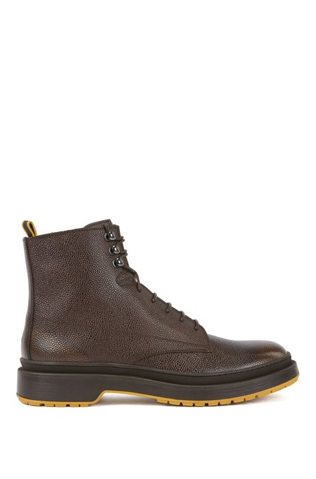 Lace-up boots in Scotch-grain leather with contrast lug sole, Brown