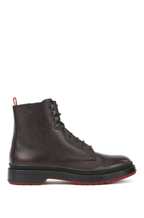 Lace-up boots in Scotch-grain leather with contrast lug sole, Dark Brown