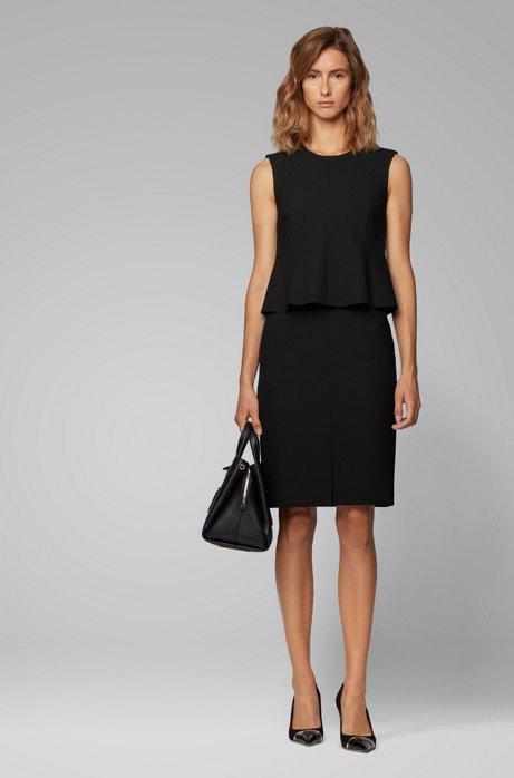 Shift dress in stretch fabric with peplum waist, Black