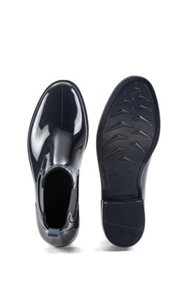 Rain booties in glossy rubber, Dark Blue
