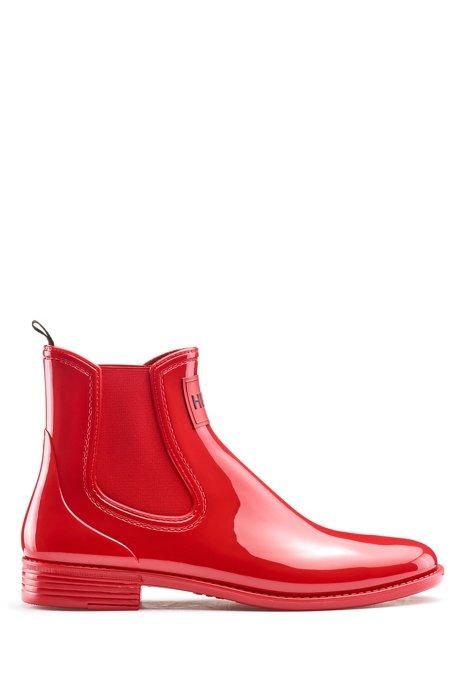 Regenstiefel aus glänzendem Gummi, Rot