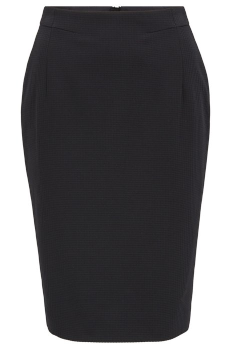 Regular-fit pencil skirt in houndstooth-structured jersey, Black