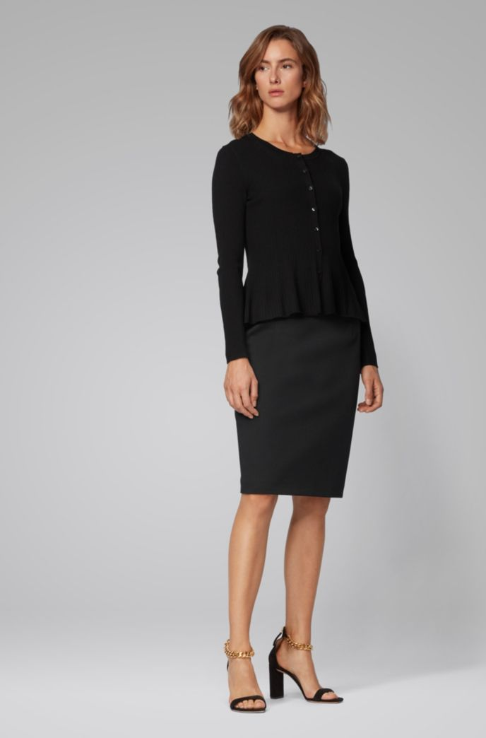 Regular-fit pencil skirt in houndstooth-structured jersey