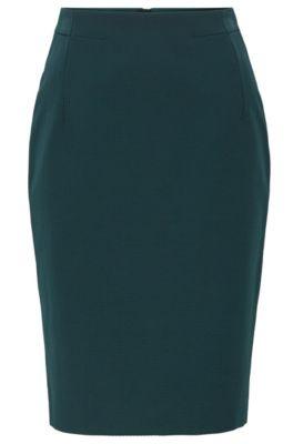 Regular-fit kokerrok van jersey met pied-de-poule-structuur, Donkergroen