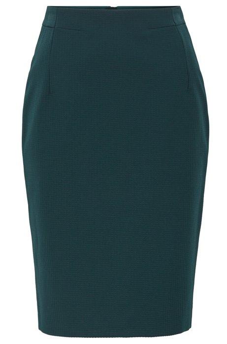Jupe crayon Regular Fit en jersey structuré à motif pied-de-poule, Vert sombre