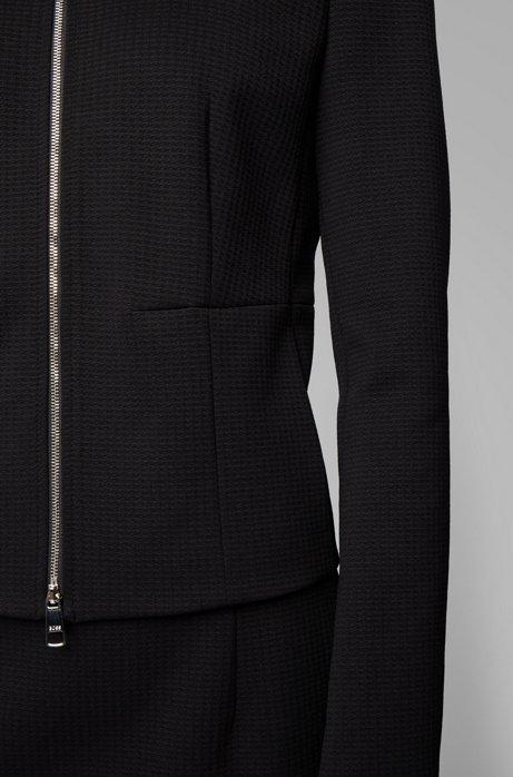 Collarless regular-fit jacket in stretch jersey, Black
