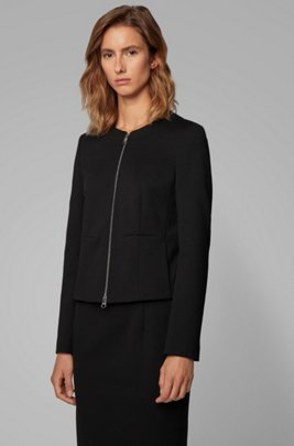 Collarless regular-fit jacket in stretch jersey, Black