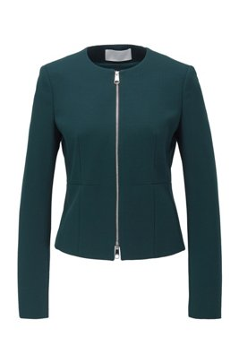 Veste sans col Regular Fit en jersey stretch, Vert sombre