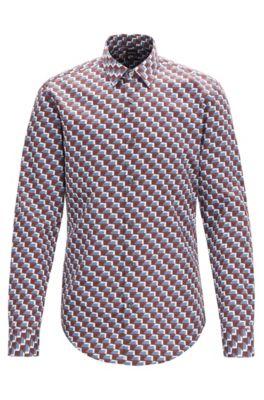 Slim-Fit Hemd aus Baumwolle mit Satin-Finish und Balkon-Muster, Dunkelrot