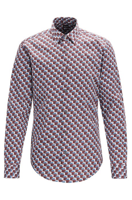 Slim-fit shirt in balcony-print satin-touch cotton, Dark Red